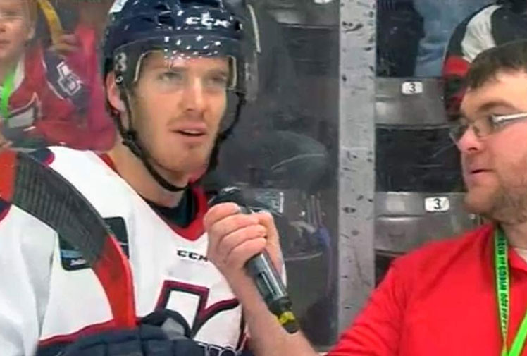 "<b>An ice hockey player gave some of the funniest responses when he replaced the word ""now"" with ""meow"" in an on-ice interview.</b><br/><br/>Kalamazoo Wings' Ray Kaunisto said he was keeping ""things light"" when he was asked to front the local announcer.<br/><br/>""I thought about doing it a little bit before and then I just figured just let it rip and see what happens,"" Kaunisto told MLive.com.<br/><br/>The funny exchange is just another example of when sport interviews take an abrupt left turn ..."