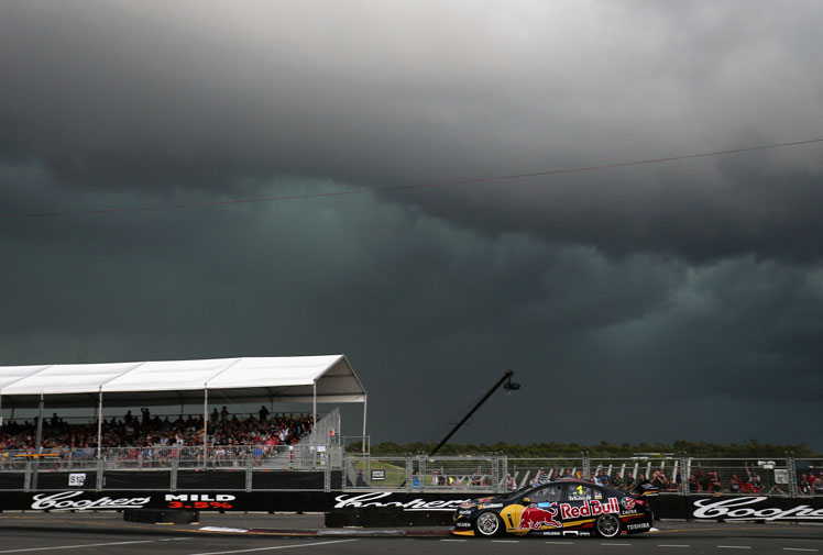 <b>No one has been spared the brunt of Sydney's wild weather – not even the finale to this year's V8 Supercars' completion.</b><br/><br/>Fighting for the final glory of the season, day quickly turned to night as a large system swept across Sydney Olympic Park.<br/><br/>With drivers fighting for control on the treacherous track, race officials were forced to suspend the second race, handing Jamie Whincup both races.<br/><br/>But as the race came to a halt, mother nature put on a show of her own ...
