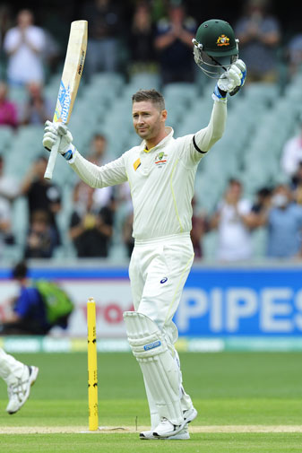 <b>It's a moment already immortalised in cricket folklore – a crippled Michael Clarke, kissing the Australian badge after scoring a century at the Adelaide Oval.</b><br/><br/>But this ton against India in the First Test will be forever remembered among his 28 other hundreds for the true grit he showed to overcome an ailing back and heavy heart.<br/><br/>Just days after tearfully farewelling his great mate Phil Hughes, Clarke endured the emotions, the pain and even the weather before notching a truly remarkable milestone.