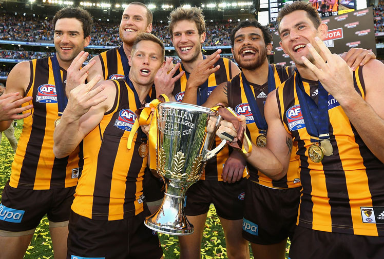 <b>For all the subplots of the 2014 AFL season, no story was greater than that of the eventual Premier's.</b><br/><br/>Hawthorn were decimated by injury and temporarily lost their coach to illness, yet displayed extraordinary courage, resilience and a sheer will to win that led them to their third flag in six years and the first back-to-back Premierships since Brisbane.<br/><br/>The Hawks even entered the Grand Final as underdogs, taking on a mighty Sydney outfit that swept aside all during the home and away season on the back of 'Buddy-mania'<br/>(Getty Images)