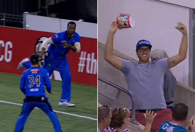 <b>The Brisbane-Adelaide Big Bash match saw a rare event, two Strikers players and a fan facing off for the honour of best catch of the night. </b><br/><br/>West Indian star Kieron Pollard was responsible for the first catch, showing remarkable athleticism to take a skied shot as he tiptoed around the boundary before flicking it to a teammate before he fell over the rope.<br/><br/>On a normal night, that'd be the play of the day but Pollard faced some stiff competition after a man in the stands leant over a railing to pluck a fiercely struck shot with just his left hand.<br/><br/>Click through to watch both incredible grabs and decide for yourself, which is the best?<br/>