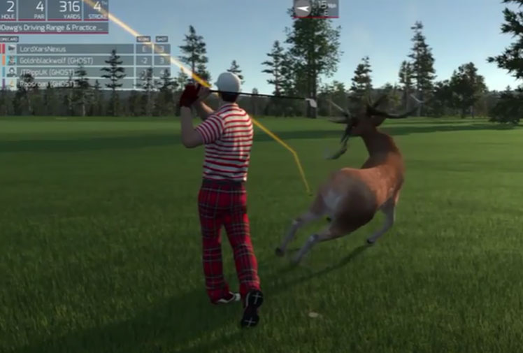 """<b>Golf's normally a sedate game, but it seems someone forgot to tell the designers of Playstation 4's newest offering.</b><br/><br/>A glitch in PS4's """"The Golf Club"""" allows gamers to turn hunter and kill deer by felling them with golf balls.<br/><br/>Golfers can blast unsuspecting animals that wander onto the course from close range or knock them down with a drive from the tee - all in the name of culling.  <br/><br/>Check out out the game among our catalogue of hilarious video game glitches.<br/><br/>"""