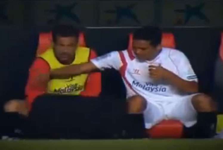 <b>Spanish defender Fernando Navarro has joined the list of athletes captured answering call of nature call during a recent clash between Sevilla and Elche.</b><br/><br/>The Sevilla bench warmer was awaiting his turn to hit the action when he was filmed entering the team dug-out and grabbing a cup, before a teammate generously handed him his jacket to cover his modesty while he did the business.<br/><br/>While Navarro's act was broadcast to millions of fans, at least he covered up - unlike a host of NRL, rugby and football stars, who showed less modesty.<br/><br/><br/><br/><br/> <br/>