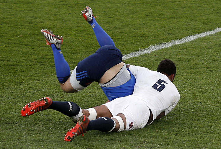<b>French rugby union player Jules Plisson needed medical attention after being clobbered by England's Courtney Lawes in the Six Nations.</b><br/><br/>The fly-half was starting a raid during France's 55-35 loss when he was poleaxed by the onrushing Lawes.<br/><br/>The brutality of the hit saw players from both sides square up to each other with the match threatening to erupt into an all-out brawl.<br/><br/>Click through and see how it compares with some of the best hits from the NRL and across the globe.<br/>