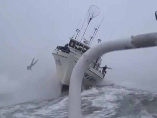 Surfer abandons ship as monster wave hits