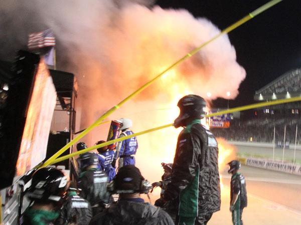Pit lane inferno injures crew members