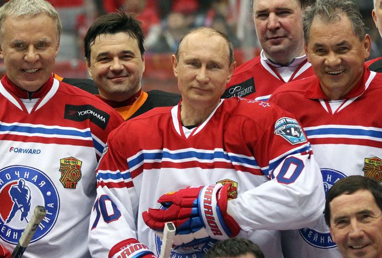 <b>Russia's so-called 'Action Man' President Vladimir Putin has provided more ammunition for comics around the world after purportedly dominating an ice-hockey exhibition match .</b><br/><br/>The game featured several former NHL players who were apparently left bamboozled by their leader as he struck eight goals. It's a feat that no professional player has ever managed in a single game.<br/><br/>Naturally, cynics have been quick to pounce...<br/><br/><br/><br/><br/>