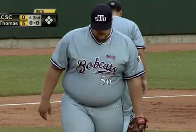 """<b>A 136kg university baseball pitcher has become an unlikely sports sensation after taking the US media by storm.</b><br/><br/>St. Thomas' Ben Ancheff was regarded as a 'hero' when he took the mound as a starter against Idaho in the NAIA World Series.<br/><br/>""""What's the old John Kruk quote? 'He's not an athlete, he's a baseball player?' Ben Ancheff: baseball hero,"""" CBS Sports' Mike Axisa said describing the hulking player.<br/><br/>Ancheff joins a long list of athletes who have suprised in the sporting arena.<br/><br/><br/>"""