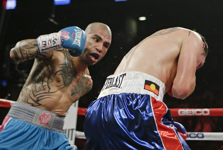 <b>Australian boxer Daniel Geale has been knocked out in a brutal loss to WBC middleweight champion Miguel Cotto.</b><br/><br/>Geale went into the bout with a height and weight advantage and a longer reach but it matter little with Cotto proving too powerful.<br/><br/>The Puerto Rican fighter knocked Geale down twice before finishing the bout with 2:28 left in the fourth round.<br/><br/>The loss was Geale's third in his past five fights and, from the following images, was one of his most painful.<br/>