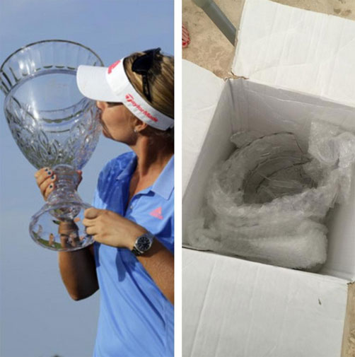 "<b>An LPGA golfer will think again before using shippers FedEx after her ShopRite Classic trophy was destroyed in transit.</b><br/><br/>Sweden's Anna Nordqvist was left speechless when she found the giant glass trophy shattered ""in a thousand pieces"".<br/><br/>However, she did find a bright side to the mishap.<br/><br/>""I told my team I was going to share my win with them,"" she tweeted. ""Now they can all have a piece of the trophy."" (AAP)<br/><br/>Click through to watch other trophy fails ...<br/>"