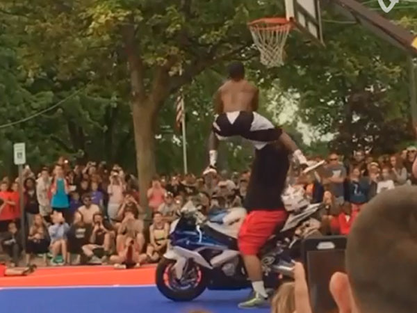 Little guy nails incredible monster dunk