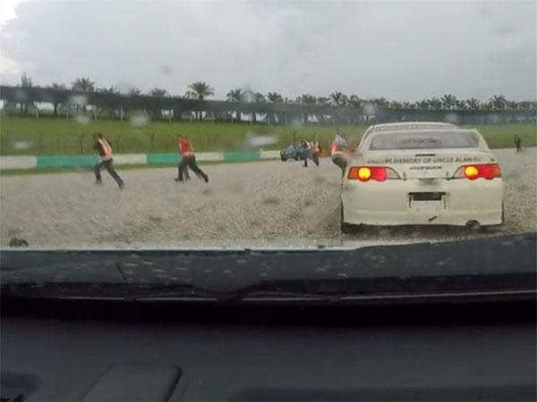 Race marshalls filmed running for their lives