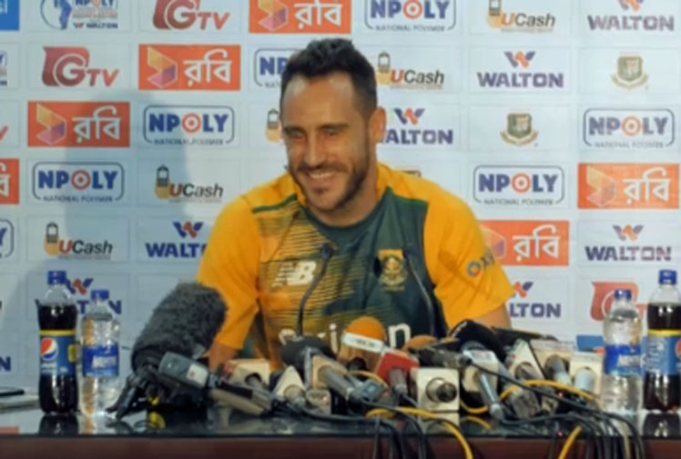 "<b>Journalists beware - don't bring your mobile phones to a Francois Du Plessis press conference.</b><br/><br/>The South African skipper was answering questions ahead of the T20 Tour to Bangladesh when a ringing phone stopped him in his tracks.<br/><br/>But instead of getting annoyed, the quick-thinking Du Plessis had an apt punishment in mind for the embarrassed reporter.<br/><br/>""Couple of push ups for you?"" a smiling Du Plessis asks the reporter.<br/><br/>The incident was another reminder that mobile phones and sport press conferences don't mix …"