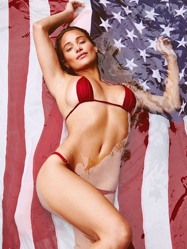 "<b>Sports Illustrated celebrated America's Independence Day with a bang after releasing a new video featuring Hannah Davis for their ""Summer of Swim"" shoot.</b><br/><br/>Just in time for the Fourth of July holiday, the stunning 25-year-old models a variety of red, white and blue swimsuits.<br/><br/>Girlfriend of former baseball star Derek Jeter, Davis lights up the shoot with fireworks before signing off with the message: ""Happy birthday America, you look good for 239.""<br/><br/>Click through to see Davis at her patriotic best … <br/><br/><br/>"