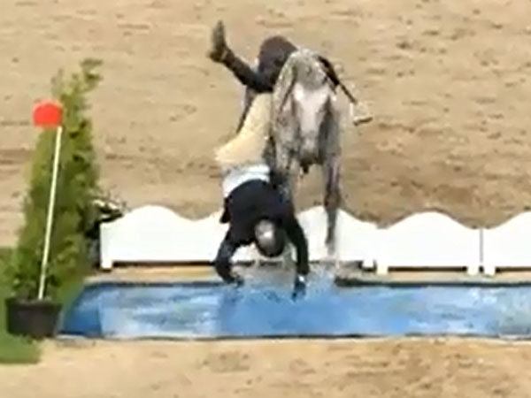 Fed-up jumps horse throws rider