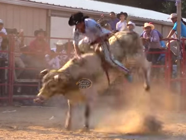 Bull rider loses his teeth after rodeo mishap