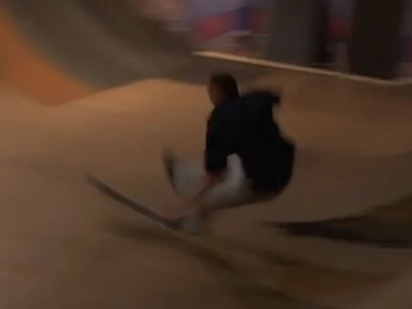 Skater saves youngster from flying board
