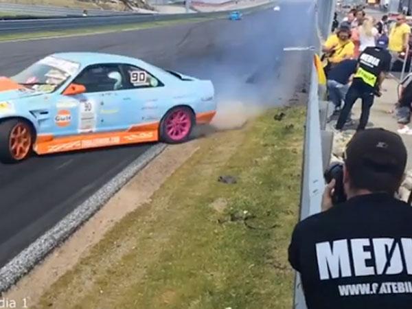 Cameramen risk life and limb for drift car money shots