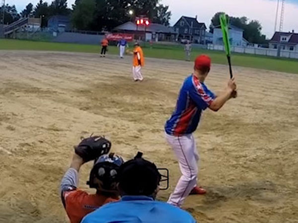 Softball player hits amazing switch hit homerun