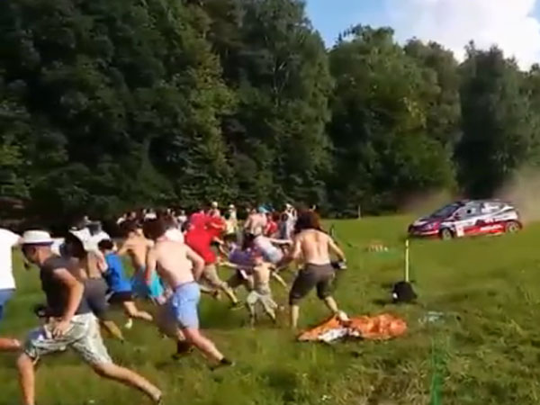 Rally car fan shows cool calm to cheat death