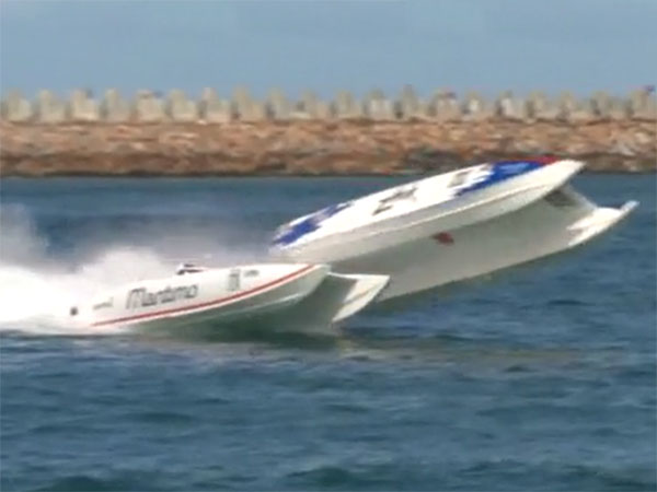 Superboat sent flying in frightening crash