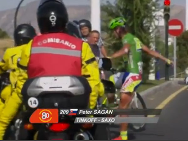 Race cyclist fumes after motorbike crash