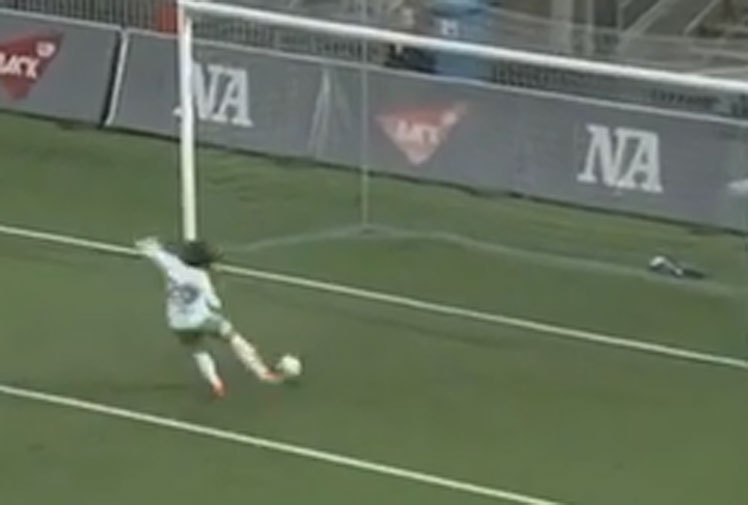 <b>A Swedish footballer has scored arguably the worst ever own goal after attempting to clear a failed kick from her goalkeeper and booting the ball into the empty net.</b><br/><br/>Retrieving a deflected kick from her keepr, Hammarby defender Helen Elke was facing her own goal she inexplicably powerd the ball into the back of the net. <br/><br/>Fortunately the blunder didn't cost Hamarby the game with the side claiming a 3-1 win over Orebro, but it was enough to place Elke in the own goal hall of shame.  <br/><br/>Click through to watch the hilarious blooper, as well as some more of our favourite own goal gaffes.<br/>