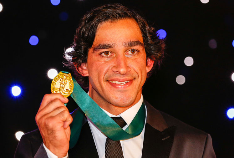 <b>Cowboys skipper Johnathan Thurston has made a case of being the greatest player of all time after winning his fourth Dally M medal.</b><br/><br/>Thurston, who missed the vote after staying in Townsville, cruised to the record setting win after beating a three-way tie in second of a Benji Marshall, Aaron Woods and Michael Ennis .<br/><br/>But despite the historic win, the 32-year-old was upstaged by the frocks and shocks on the red carpet.<br/><br/>