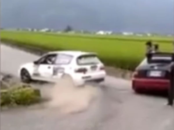 Rally driver's embarrassing crash