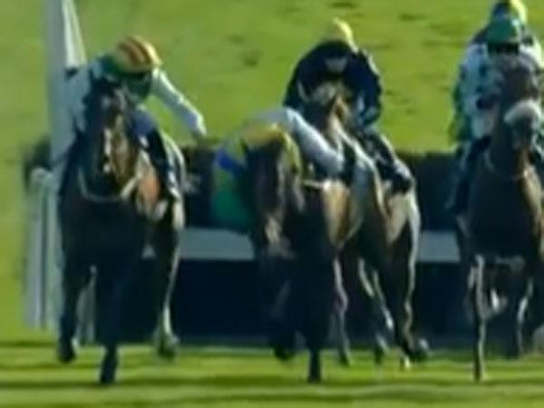 Jockey saves rival from horror fall