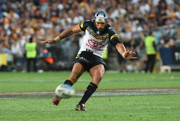 <b>Cometh the hour, cometh the man.</b><br/><br/>Cowboys skipper Johnathan Thurston has won the greatest grand final ever after kicking a dramatic, golden point field goal to beat the Brisbane Broncos, 17-16.<br/><br/>The epic decider was nearly won moments before when Thurston hit the upright with a conversion shot after the siren, but he only needed one more chance to seal North Queensland's maiden title.<br/><br/>The first all-Queensland grand final was an enthralling clash that will live long in the memory.<br/><br/>