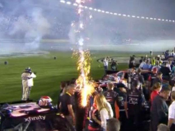 NASCAR driver escapes close encounter with firework