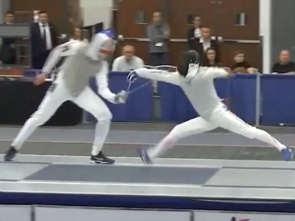 Thrilling fencing duel ends in bizarre fashion