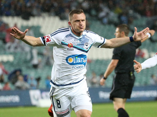 Besart Berisha celebrates one of his two goals. (AAP)