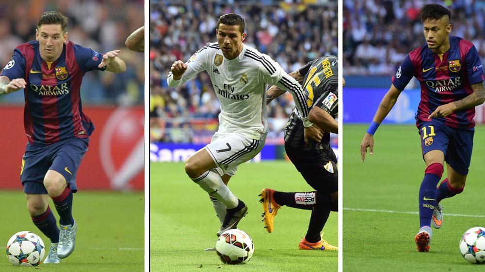 Lionel Messi (L), Cristiano Ronaldo (C) and Neymar. (AFP)