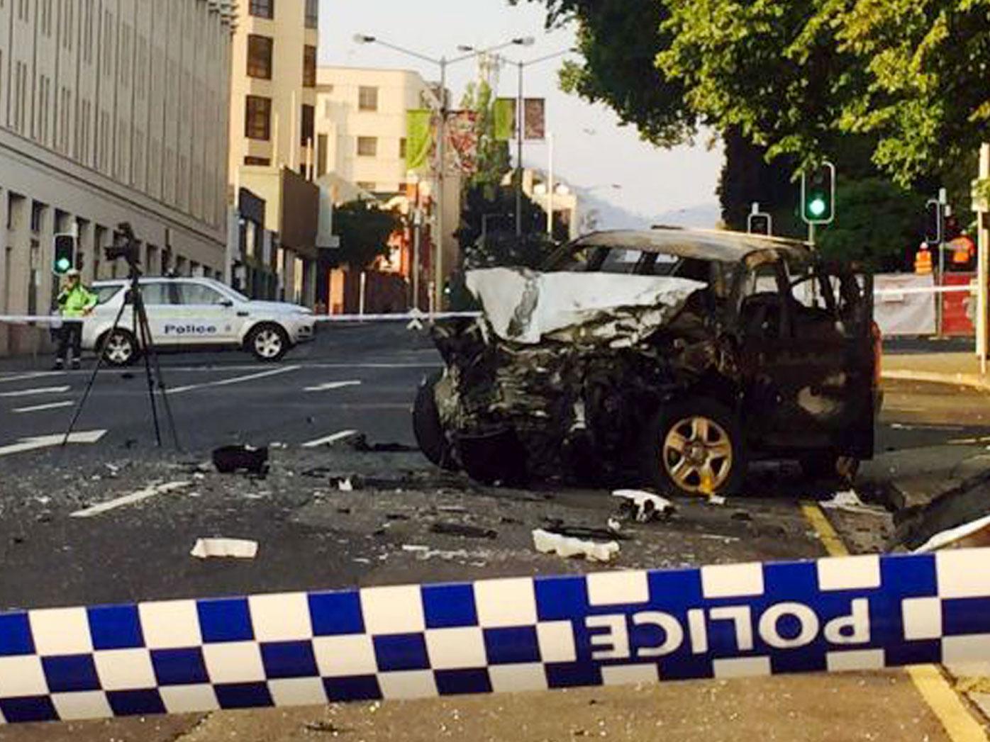 The scene of the crash on Davey Street, Hobart.