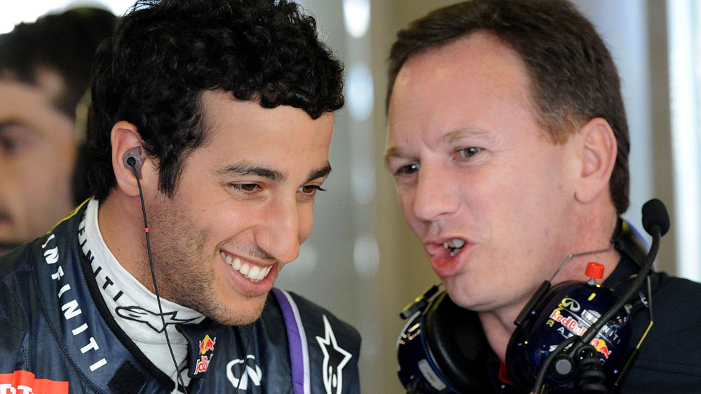 Daniel Ricciardo and Christian Horner. (AAP)