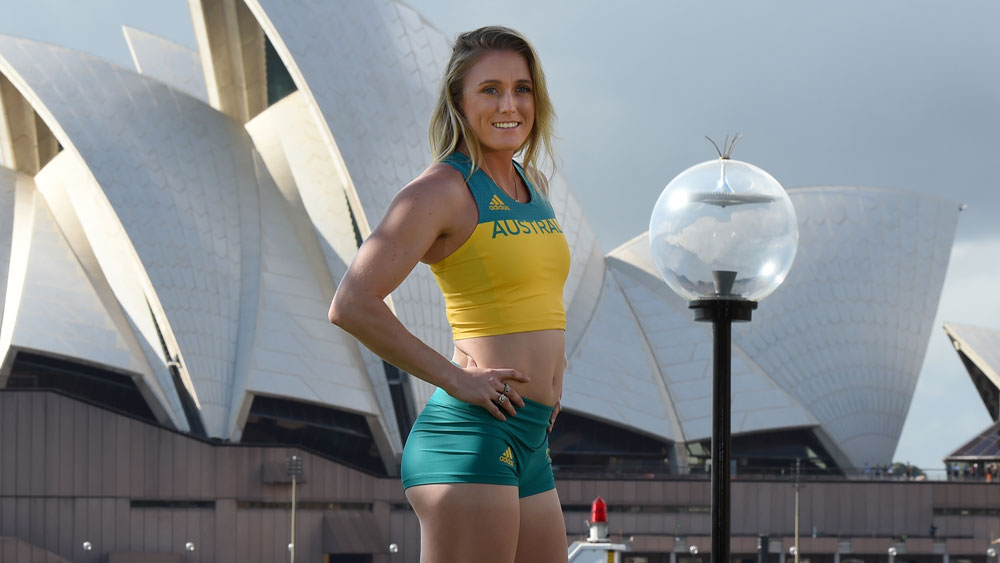 Sally Pearson models the new uniform. (AAP)