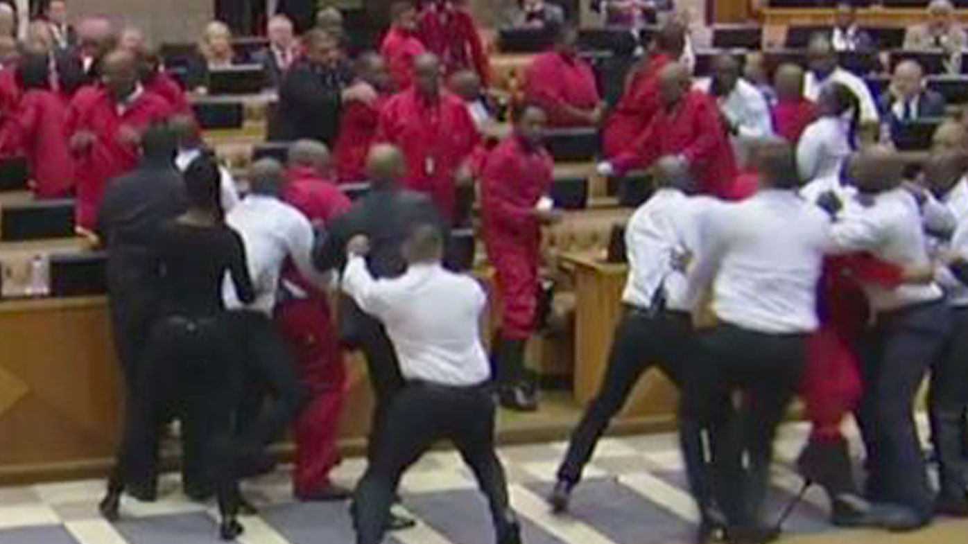 Brawl erupts as opposition party thrown out of South African parliament