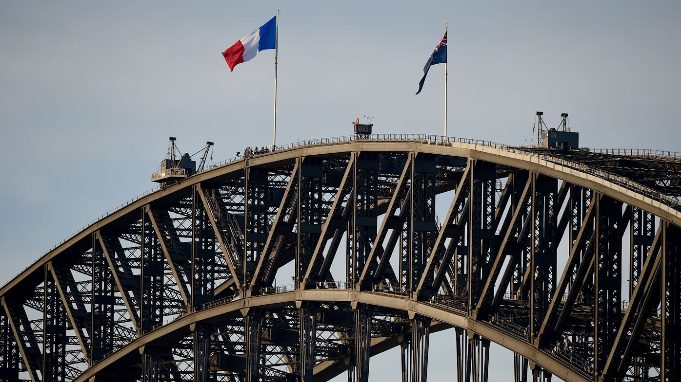The French flag on the Sydney Harbour Bridge. (AAP)