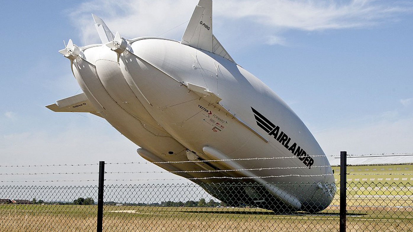 The Airlander 10 as it crash landed at its base in Bedfordshire. (AAP)