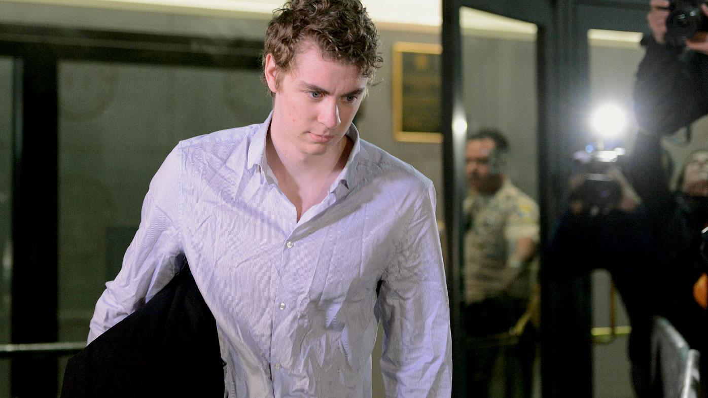 Brock Turner leaves jail after serving half of his six-month sentence. (AAP)