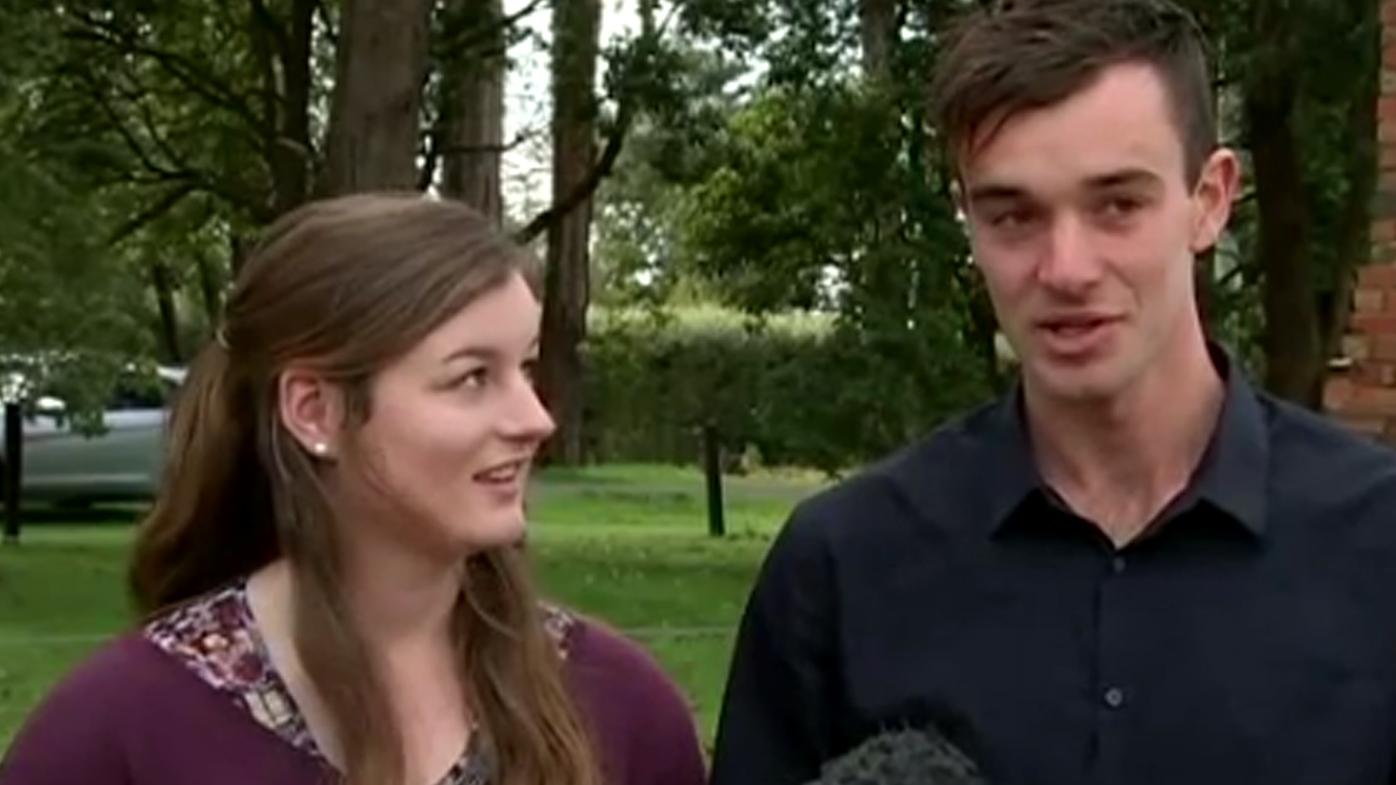Mark Tromp's son & daughter, Mitchell and Ella, speak to the media