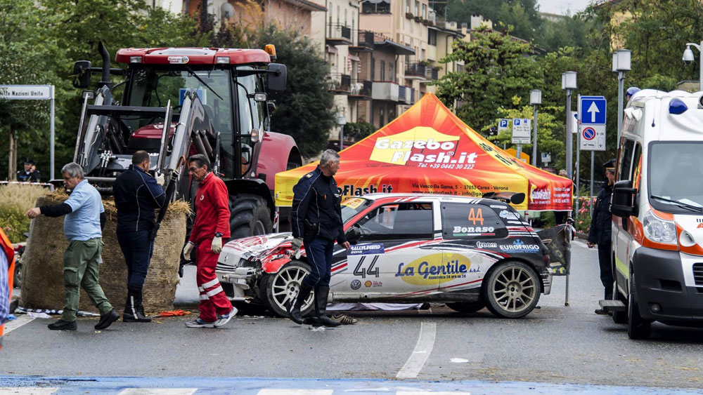 The spectators were standing behind a hay bale that the car crashed into. (AAP)
