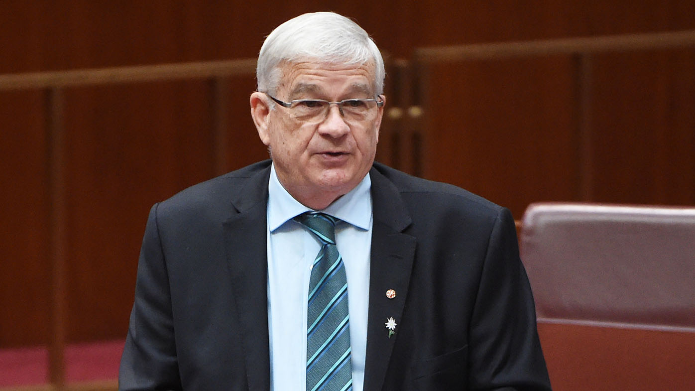 One Nation Senator Brian Burston makes his maiden speech in the Senate at Parliament House. (AAP)