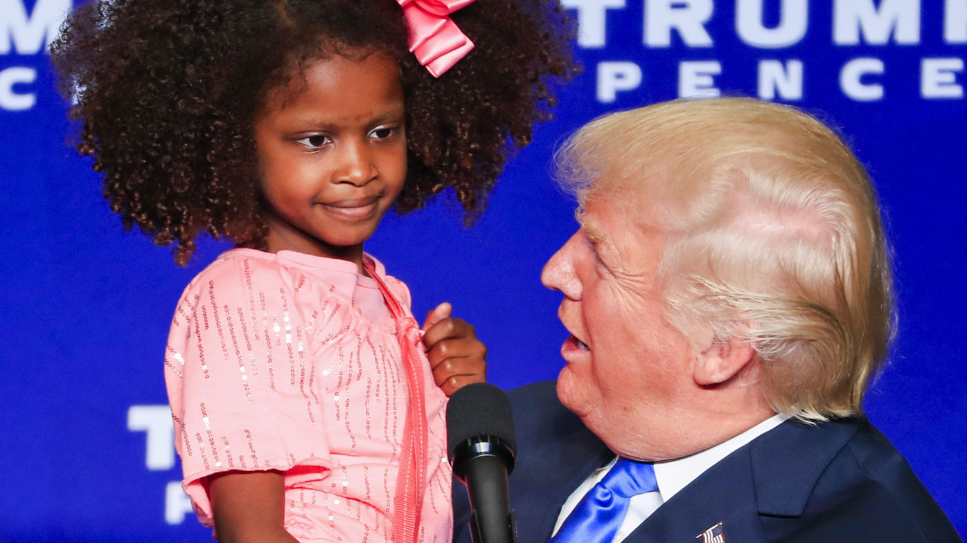 She was the first of two children Trump invited on stage. (AAP)