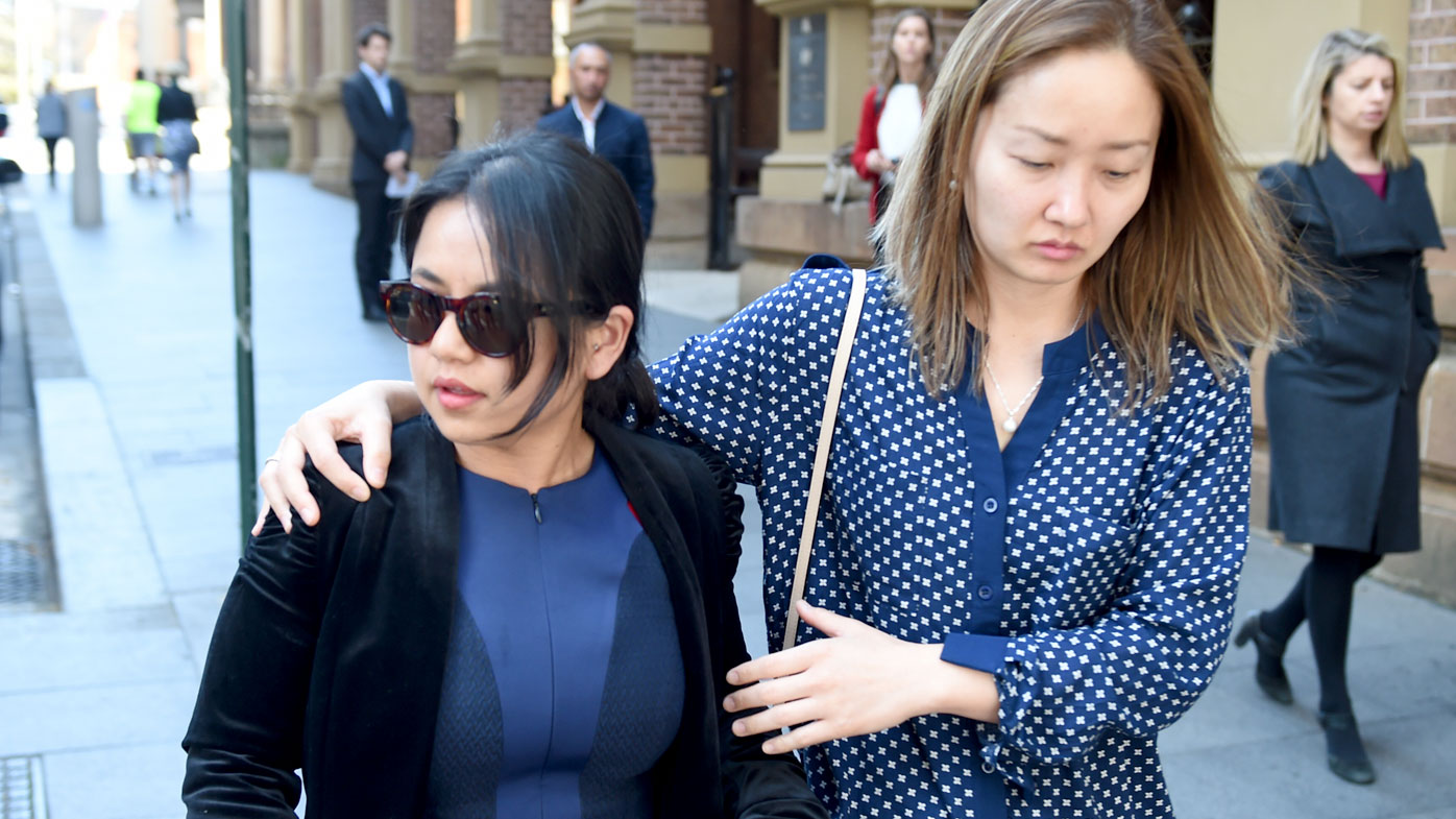Pradeepa Yonzon (left), the fiance of Amin Sthapit, who was stabbed to death, leaves court. (AAP)