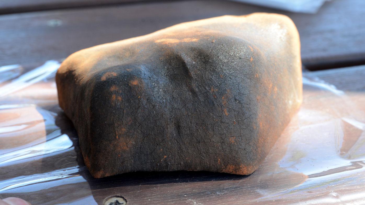 The brick-shaped meteorite.(AAP)