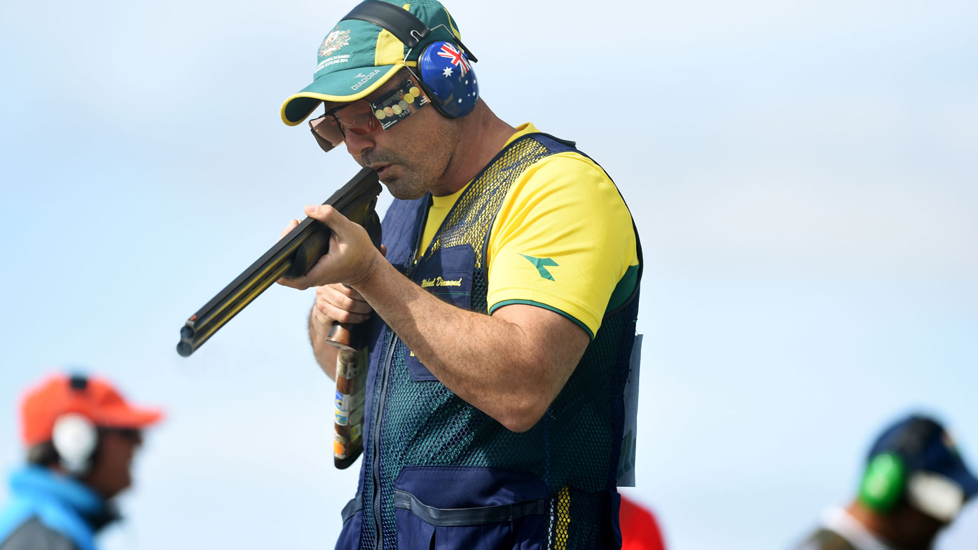 Michael Diamond competes in the Trap Men's Qualification at Barry Buddon Shooting Centre in Scotland in 2014. (AAP)