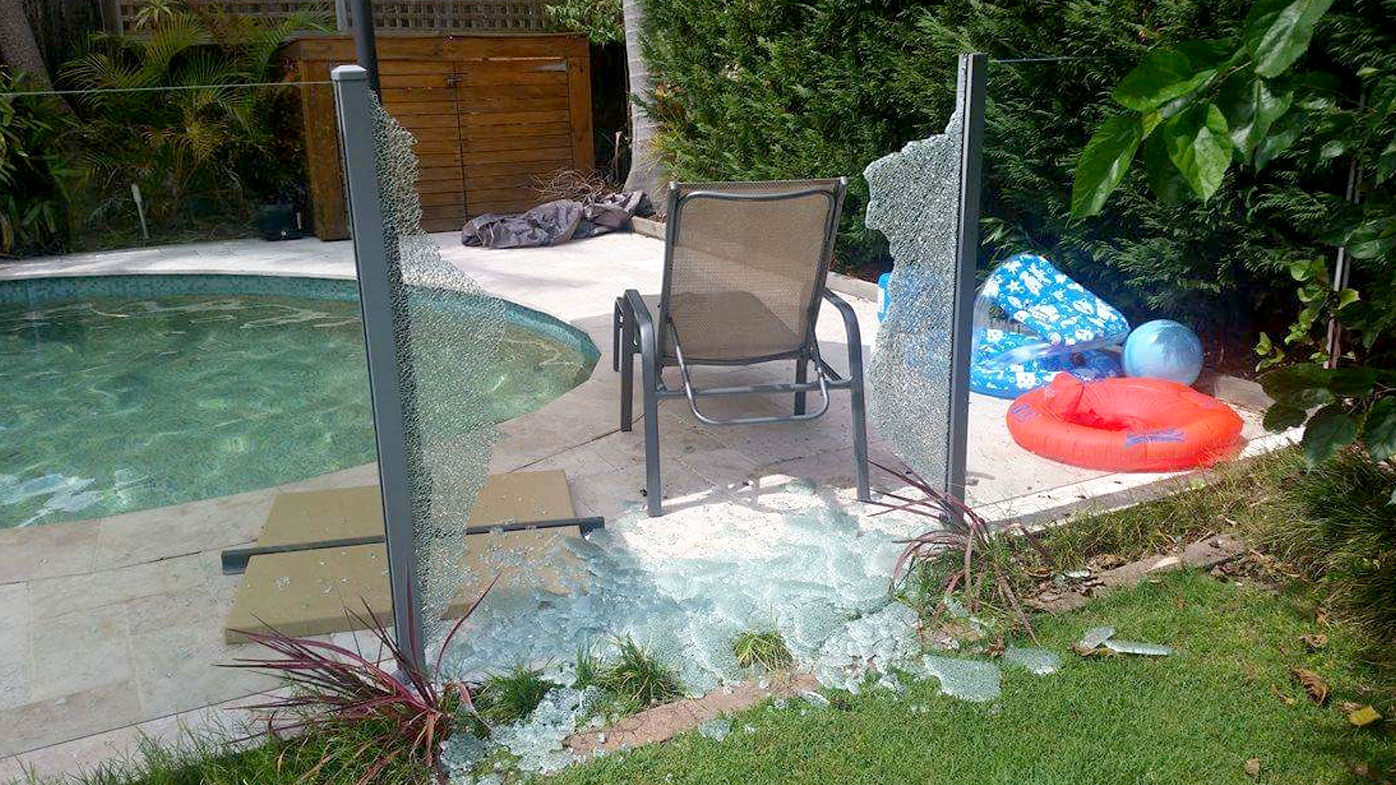 Glass pool fence 'explodes' during Sydney heatwave